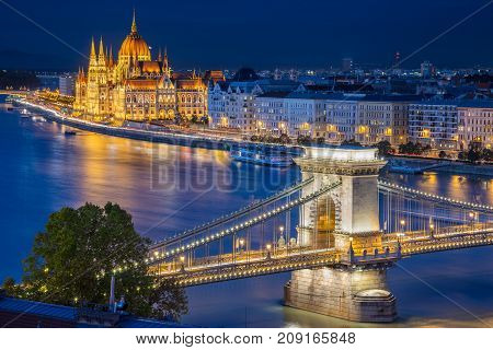 Budapest. Cityscape image of Budapest, capital city of Hungary, during twilight blue hour.