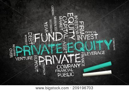 Handwritten Private Equity concept on a chalkboard with a word tag cloud of associated financial words with central large green text - Private Equity stock photo
