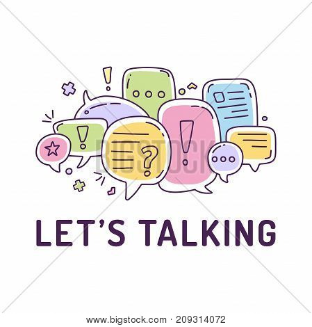 Vector illustration of colorful color dialog speech bubbles with icons and text let's talking on white background. Safety communication thin line design of mobile technology concept stock photo