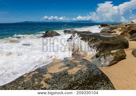 View at Playa las Animas near Puerto Vallarte in Mexico stock photo