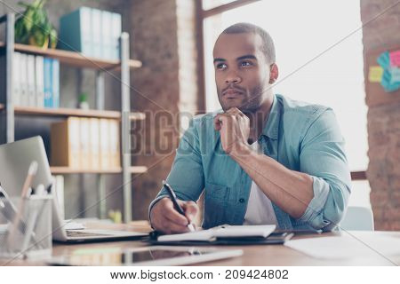 Skeptic, Unsure, Uncertain, Doubts Concept. Young African Student Is Making Decision Sitting At The