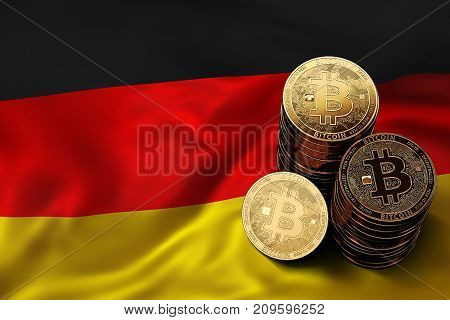 Stack of Bitcoin coins on German flag. Situation of Bitcoin and other cryptocurrencies in Germany concept. 3D Rendering stock photo