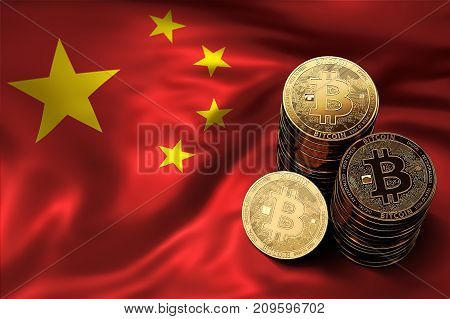 Stack of Bitcoin coins on Chinese flag. Situation of Bitcoin and other cryptocurrencies in China concept. 3D Rendering stock photo
