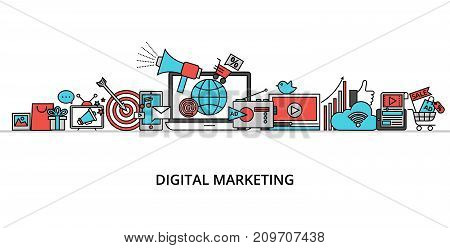 Modern flat thin line design vector illustration concept of digital marketing internet marketing idea and new market trends analysis for graphic and web design