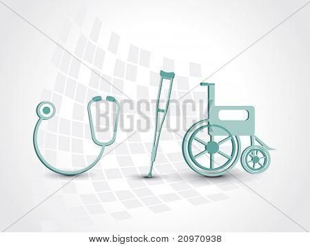 abstract medical background with armchair, wheelchair and stethoscope stock photo
