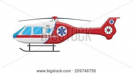 Ambulance helicopter. Red medical evacuation helicopter. Healthcare, hospital and medical diagnostics. Urgency and emergency services. Vector illustration in flat style stock photo