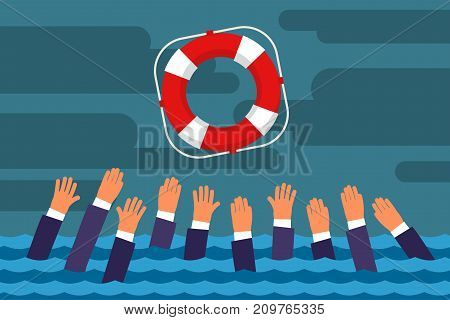 Helping Business survive. Drowning businessmen getting lifebuoy for help, support, and survival. Flat design, vector illustration. stock photo