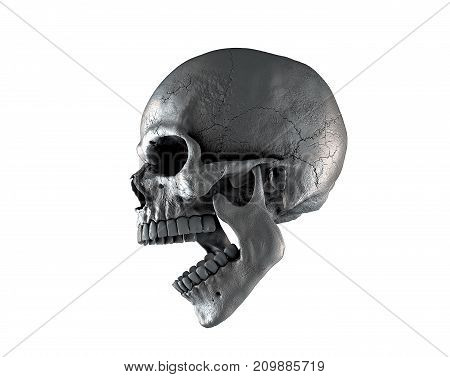 Skull man using rich shades of color on a white isolated background. The concept of death, horror. A symbol of spooky Halloween. 3d illustration of rendering. stock photo
