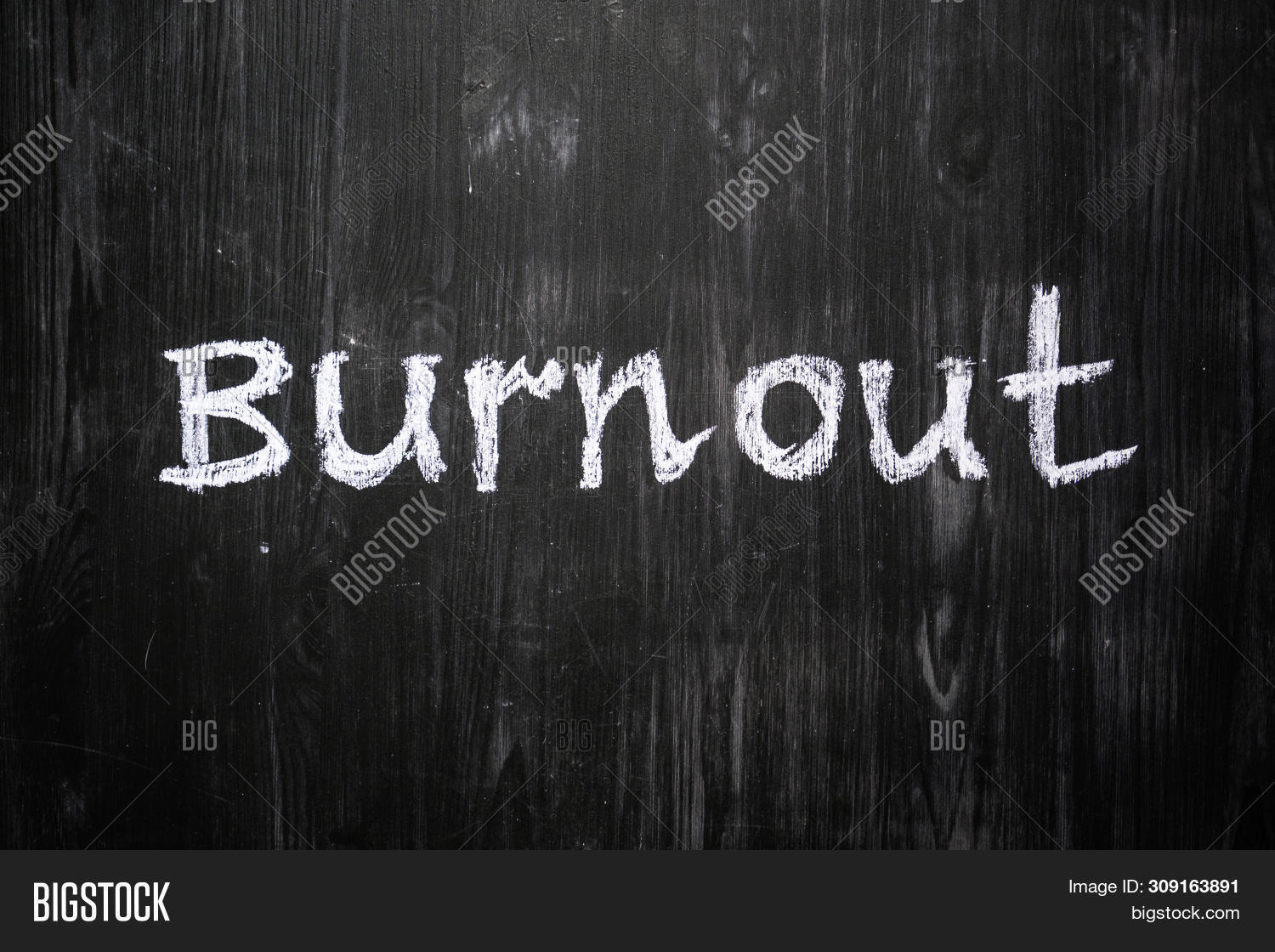 Burnout Word Handwritten On Black Wood Background. Sign, Concept Of Mental Issues - The Word