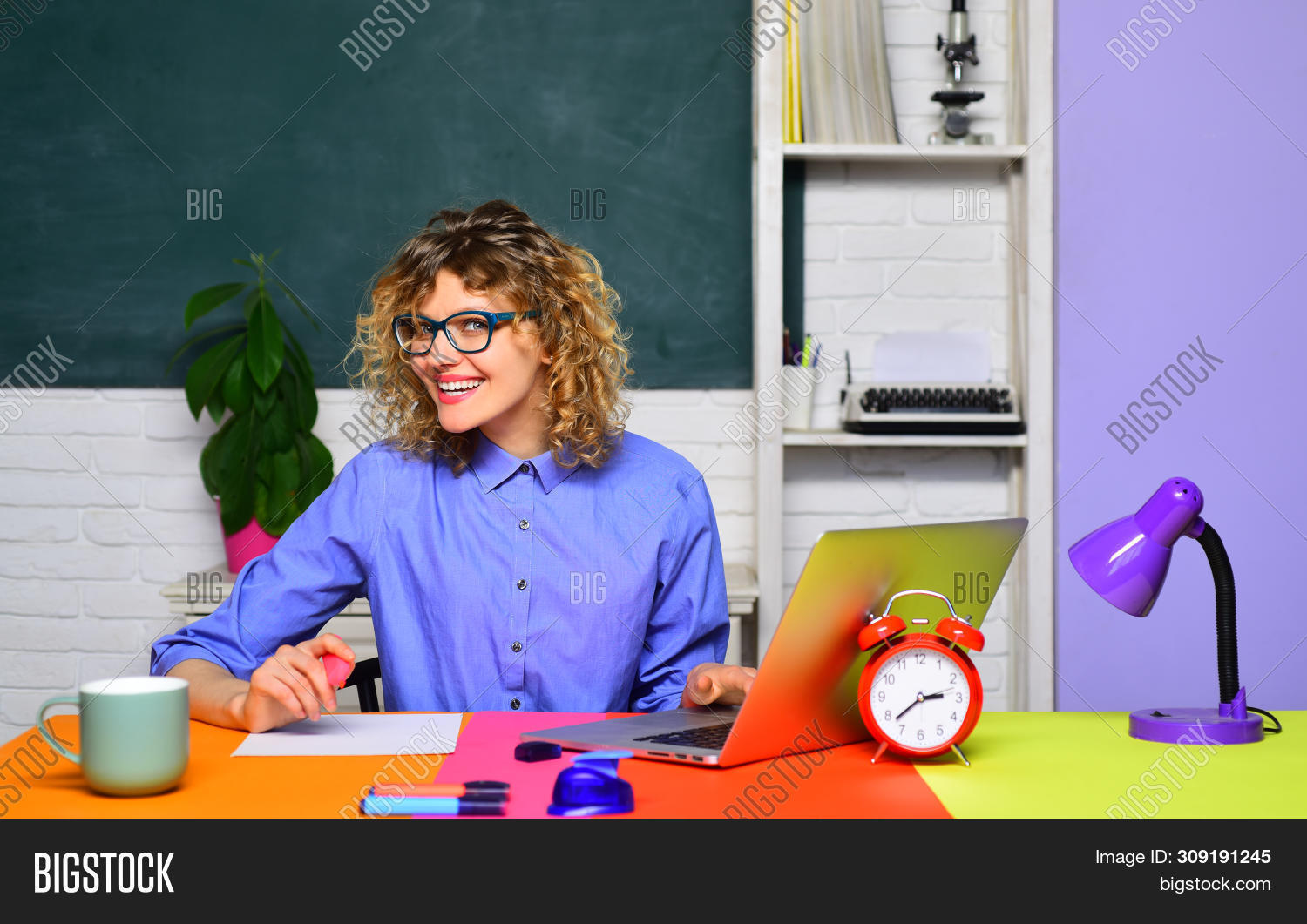 School Student. Funny Female Teacher In Classroom. Student In College. World Teachers Day. Young Fem
