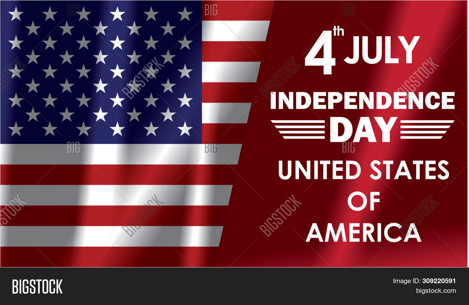 Independence day USA illustration with flah United state of america.4th of July USA Independence Day greeting card with waving american national flag. Fourth of July. 4th of July holiday banner. USA Independence Day banner