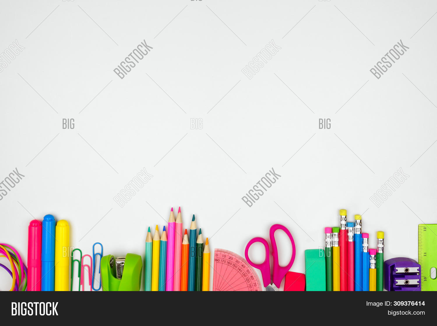 School Supplies Bottom Border. Top View On A White Background With Copy Space. Back To School Concep