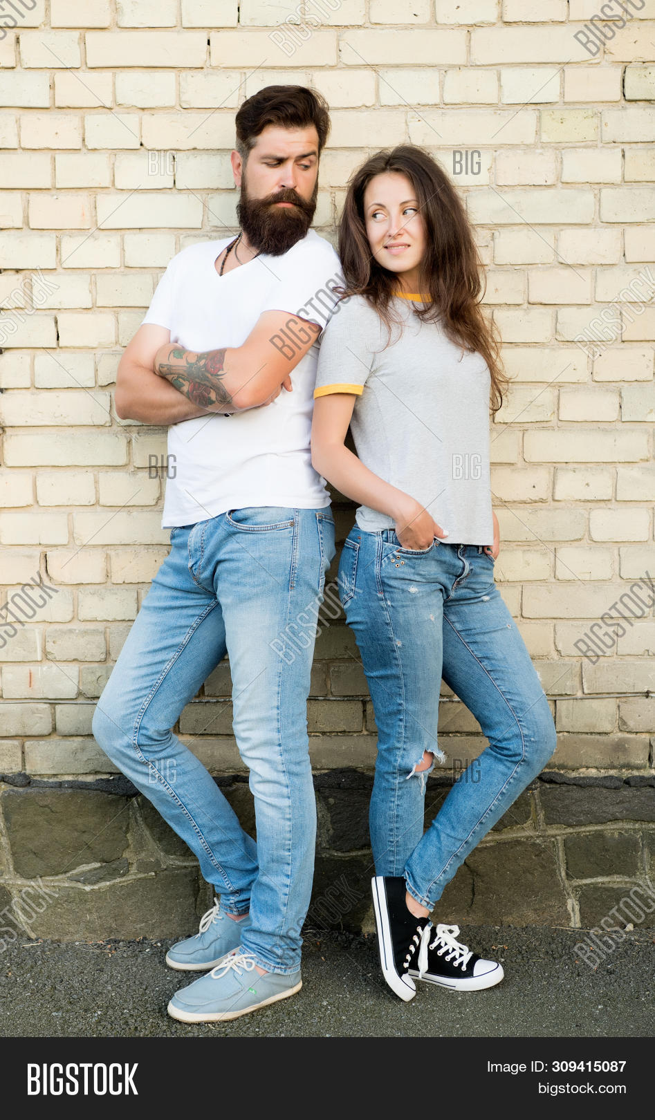 Urban Youth On Date. Casual Meeting. Man Bearded And Girl Friends. Couple In Love Romantic Date Hudd