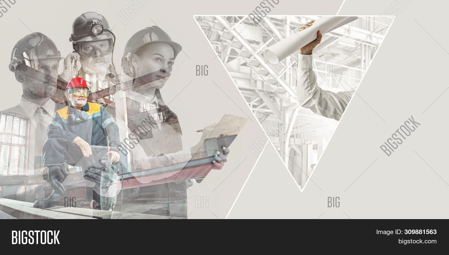 Male And Female Builders In Helmets With Double Exposure On Grey Background. Safety Specialists, Eng