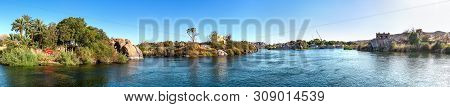 Panoramic view of river Nile in Aswan at sunset, Egypt stock photo