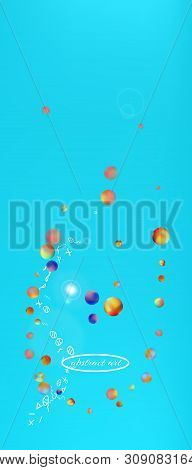 Recent space and signs confetti. Background light. Funny colorific illustration. Abstract universe and signs Ultra Wide background, vertical illustration. Colorful cool abstraction. Azure colored theme. stock photo
