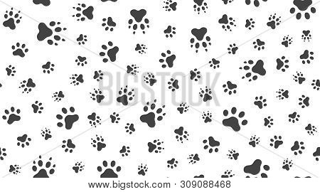 Animal Tracks Vector Seamless Pattern With Flat Icons. Black White Color Pet Paw Texture. Dog, Cat F