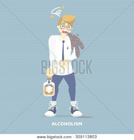 alcoholic drunk man vomiting, having dizziness, holding bottom of alcohol, health care disease, alcoholism concept, flat vector illustration cartoon character design clip art stock photo