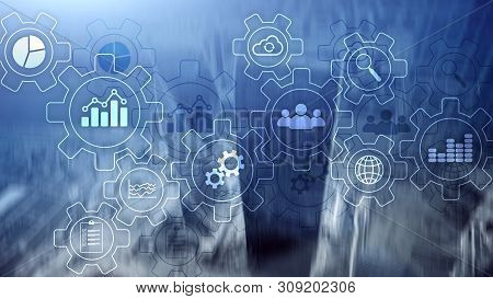 Business process abstract diagram with gears and icons. Workflow and automation technology concept. stock photo