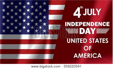 Independence day USA illustration with flah United state of america.4th of July USA Independence Day greeting card with waving american national flag. Fourth of July. 4th of July holiday banner. USA Independence Day banner stock photo