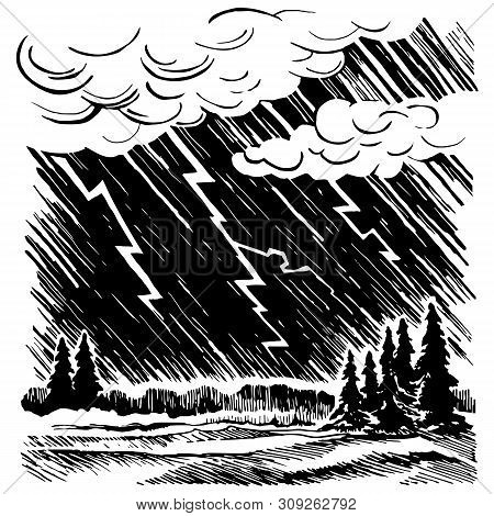 The Storm In A Forest Glade. Vector Sketch Engraving Landscape. Wind Rain Clouds And Bright Lightnin