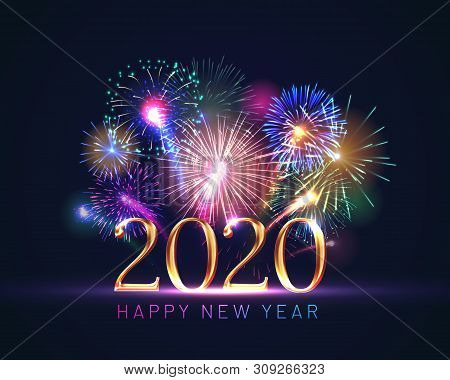 Happy new year greeting card with 2020 golden numbers and fireworks series. Celebratory template with realistic dazzling display of fireworks decoration on dark blue background vector illustration. stock photo