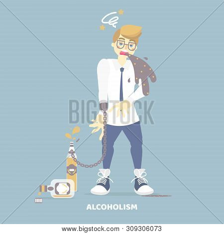 alcoholic drunk man vomiting, having dizziness, holding bottle of alcohol, health care disease, alcoholism concept, flat character design clip art vector illustration stock photo