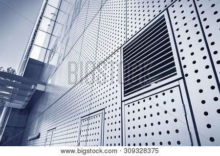 Air vent of modern architecture. Building abstract background stock photo
