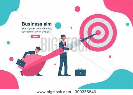 Team goal achievement. Collective achievement. People send a dart to the center of the target. Promotion of business. Growth graph concept. Vector illustration flat design. Template landing page. stock photo