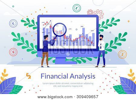 Financial Analysis Online Service Flat Vector Banner with Business Analyst Team Working Together to Calculate Company Growth Indicators, Planing Strategy, Analyzing Financial Statistics Illustration stock photo