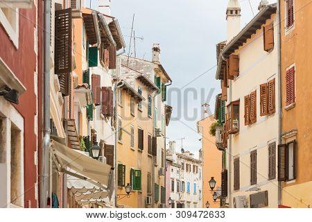 Rovinj, Istria, Croatia, Europe - Coloured facades at the city center of Rovinj stock photo