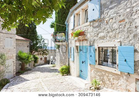 Rovinj, Istria, Croatia, Europe - Picturesque alleyway of the Middle Ages stock photo