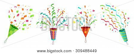 Party confetti popper. Exploding birthday celebration confetti poppers and flying congratulations ribbons. Anniversary or christmas celebration popping. Cartoon isolated icons vector set stock photo