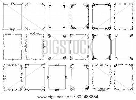 Decorative Frames. Retro Ornamental Frame, Vintage Rectangle Ornaments And Ornate Border. Decorative