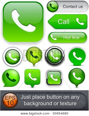 Phone green design elements for website or app. Vector eps10. stock photo
