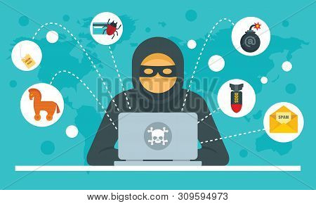 Cyber attack concept background. Flat illustration of cyber attack vector concept background for web design stock photo