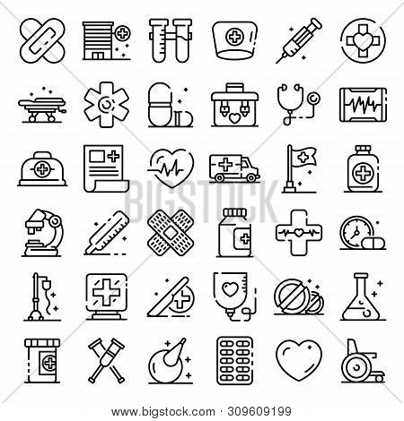 First Medical Aid Icons Set. Outline Set Of First Medical Aid Vector Icons For Web Design Isolated O