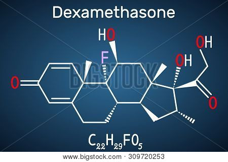 Dexamethasone molecule. This anti-inflammatory medication is a corticosteroid hormone glucocorticoid . Is used to treat arthritis, immune and hormone system disorders, allergic reactions stock photo