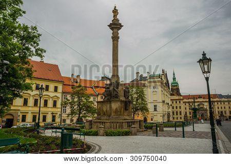 PRAGUE, CZECH REPUBLIC: Prague Castle, Czech Republic. Prague Castle - an ancient symbol of the Czech State, official residence of President of Czech Republic. stock photo