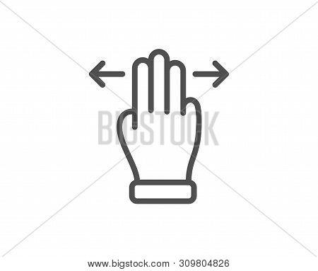 Multitasking gesture line icon. Slide arrow sign. Swipe action symbol. Quality design element. Linear style multitasking gesture icon. Editable stroke. Vector stock photo