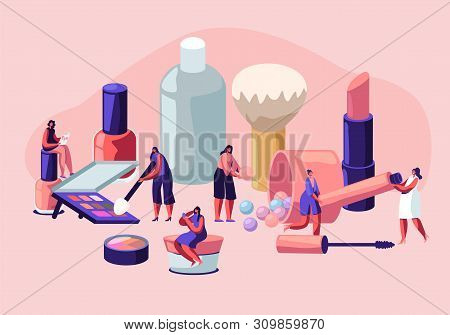 Women in Beautician Parlor. Female Characters Testing Skin Care Products in Beauty Salon. Makeup Courses, Make Up School, Cosmetics Masterclass, Face Care and Beauty. Cartoon Flat Vector Illustration stock photo