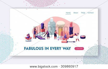 Women Testing Skin Care Products in Beauty Salon. Makeup Courses, Make Up School, Cosmetics Masterclass, Face Care and Beauty. Website Landing Page, Web Page. Cartoon Flat Vector Illustration, Banner stock photo
