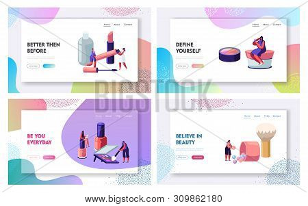 Women in Beautician Parlor. Female Characters Testing Skin Care Products in Beauty Salon. Makeup Cosmetics Face Care, Beauty Website Landing Page Set, Web Page. Cartoon Flat Vector Illustration Banner stock photo