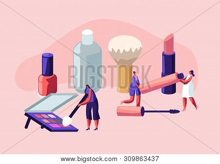 Women Spend Time in Beautician Parlor. Female Characters Testing Skin Care Products in Beauty Salon. Makeup Courses, Make Up School, Cosmetics Masterclass, Face Care. Cartoon Flat Vector Illustration stock photo