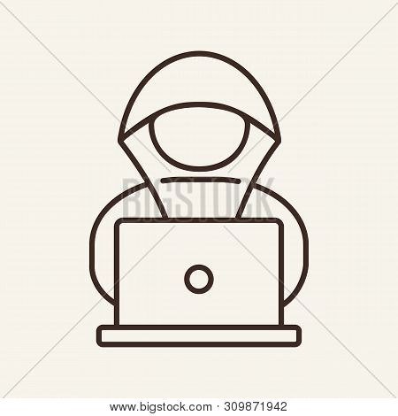 Computer And Installation Cd Line Icon. Compact Disc, Dvd, Laptop. Software Concept. Vector Illustra