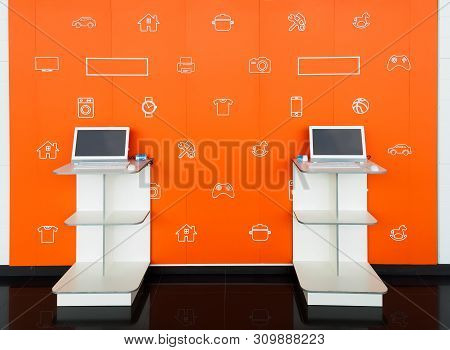 Point orders online store orange color interior. Online shopping and processing room. E-point. Pick point of orders stock photo