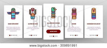 Tribal Ancient Idols Vector Onboarding Mobile App Page Screen. Religious Idols. Ethnic Ceremonial Outline Symbols Pack. African Culture, Indian Animal Totems. Native Poles Isolated Illustrations stock photo