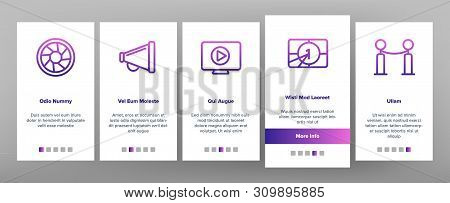 Film Edit, Filmmaking Onboarding Mobile App Page Screen Vector Icons Set. Movie Shooting, Editing Thin Line Symbols Pack. Videotaping. Cinematography Motion picture. Video Production Illustrations stock photo