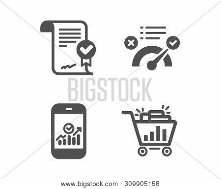Set of Smartphone statistics, Approved agreement and Correct answer icons. Seo shopping sign. Mobile business, Verified document, Approved. Analytics.  Classic design smartphone statistics icon stock photo