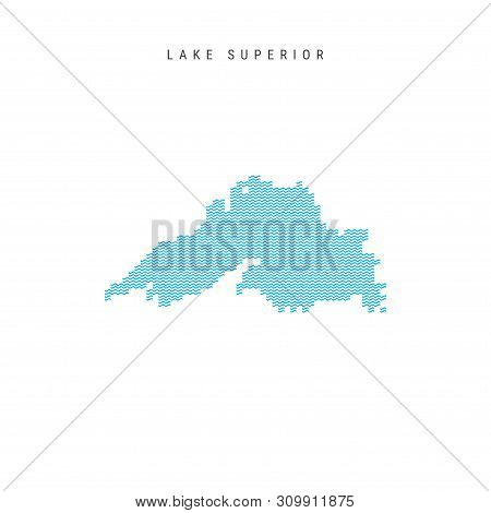 Vector Blue Wave Pattern Map of Lake Superior, One of the Great Lakes of North America. Wavy Line Pattern Silhouette of Lake Superior. stock photo